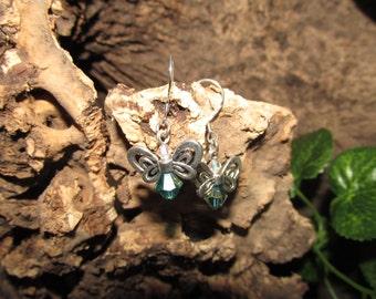 Silver drop earrings with butterflies