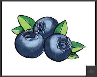 Digital clip art fruit Blueberry, ink berries