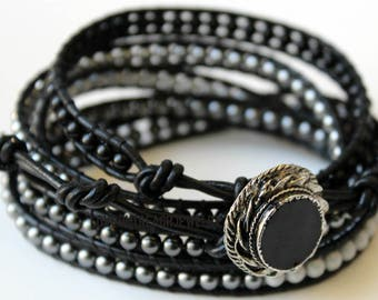 Leather Wrap Bracelet, Black Wrap Bracelet, Wounded Warrior Bead Bracelet, Men's Leather Bead Bracelet, Black Leather Wrap Bracelet