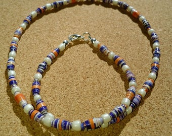 Handmade blue - orange - white recycled paper bead necklace