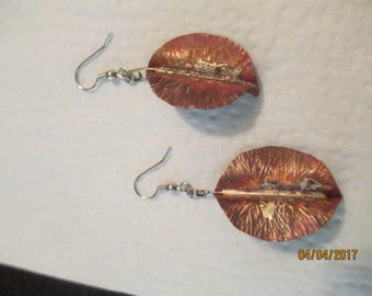 Copper Leaf Wire Earrings