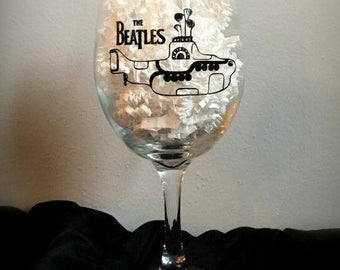 Beatles Wine Glass/ Yellow Submarine/Drink ware/ Entertaining/ Gift for him/ Gift for her