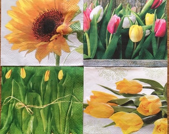 4 paper napkins, decoupage napkins, paper napkins for decoupage, tulip napkins, flowers napkins, sunflower napkins, spring flowers napkins