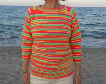 Sweater in neon pink, orange, green & yellow