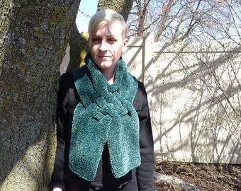 """Hand Knit """"Oceania"""" Crossover Chenille Scarf"""
