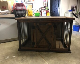 4' dog crate with solid barn door
