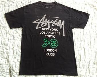 STUSSY 30th Anniversary World Tour Paris Tokyo New York London USA Logo T-Shirt