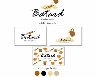 premade bakery logo premade boulangerie logo bread shop logo boulangerie - Bread Ties Color