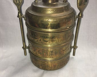 Vintage Brass Stacking Lunch Box