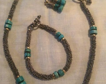 Genuine Turquoise and Silver jewelry set