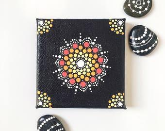Mini sun dot mandala canvas