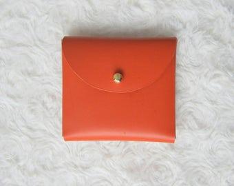 Orange leather purse / wallet minimalist / minimalist leather coin purse