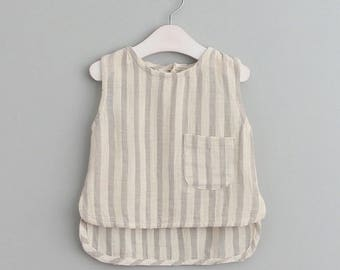 TAMKids Linen Style Toddler Sleeveless striped top summer collections
