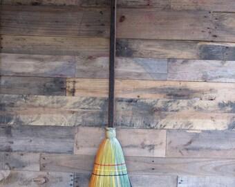 Rainbow Broom on a barnwood handle