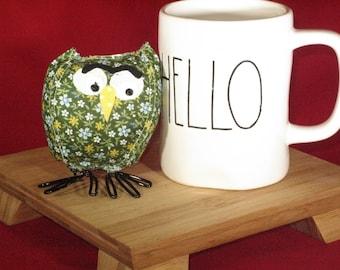 Little stuffed owl, fabric birds, fabric owl, cloth owl, stuffed animal, stuffed owl. collectible, graduation gift, owl