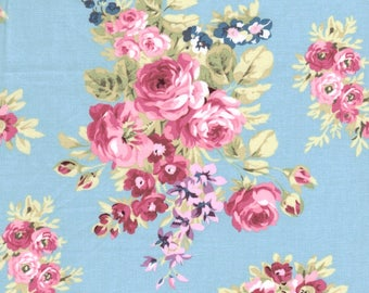 Anne of Green Gables Rose Flower Cluster on Blue 100% Cotton Fabric - FQ