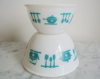 "RESERVED - Vintage Hazel Atlas ""Kitchen Aids"" Mixing Bowls Set of 2"