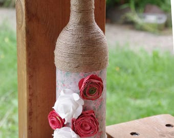 Decorative Wine Bottle - Wine bottle vase - Candle holder - Floral decor - Flowers - Flowery home decor - Rustic decor - Housewarming gift