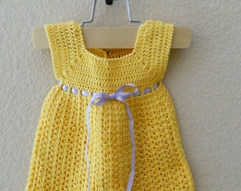 Yellow Handmade Crochet Baby Dress