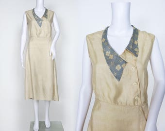 1920s Ivory Silk Day Dress with Blue Floral Collar
