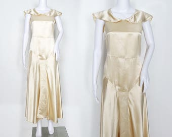 1930s Ivory Satin Bias-Cut Gown