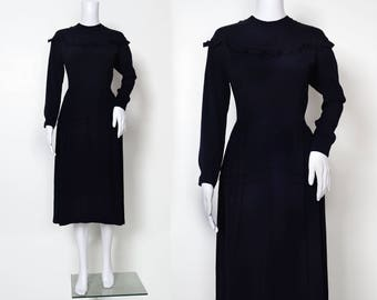 1940s Navy Crepe Dress with Ruffle Detail