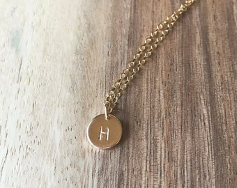 Small Disc Initial Hand Stamped Necklace, 14k Gold Fill, Charm Necklace