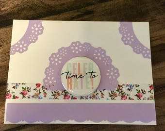 "Handmade ""Time to celebrate"" card"