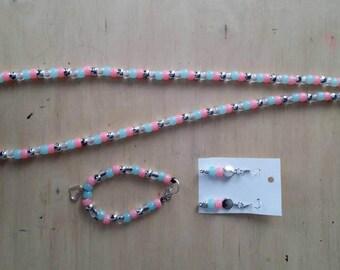 Blue-Pink jewelry set