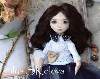 Textile doll gift sister textile doll and interior doll fabric doll cloth textile doll текстильная кукла selfy doll portrait doll
