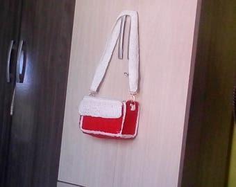 Red and White crochet handbag