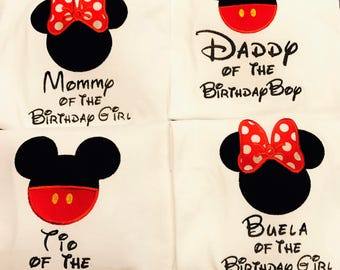 Happy Birthday!  Personalized Mommy, Daddy, Tia, Tio, Buela of the Birthday Girl Minnie Mouse Applique and Embroidered Shirt, Onesie, Dress,