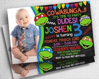 Ninja Turtles Invitation, Ninja Turtle Birthday, Ninja Turtles Birthday Invitation, Ninja Turtles Party, Ninja Turtles Birthday Party
