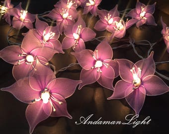 20 Purple Flower Fairy String Light Hanging Wedding Gift Party Patio, Bedroom String Lights Indoor Lights,Wedding,Party and Decoration
