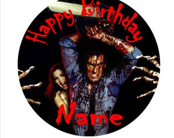 SPECIAL!! Horror Movie Halloween Edible Round Wafer Cake Topper + 30 Mini Cupcake toppers