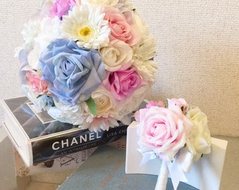 Rapunzel Flower bouquet, Pastel Flower Bouqet, Rose Bouquet, Wedding Bouquet, Bridal Bouquet,Round Bouquet, Wedding Flowers,Rose Boutonniere