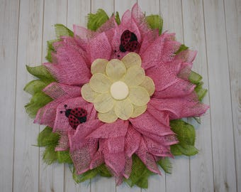Free Shipping, Mother's Day Wreath, Pink Flower with Ladybugs Wreath, Summer Wreath, Spring Wreath, Housewarming, Birthday Gift