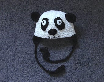 Handmade Child/Adult Panda Hat, Animal Hat, Baby Hat, Toddler Hat, Kids Hat, Crochet Hat, Boy Hat, Girl Hat. *** FREE P&P TO UK ***