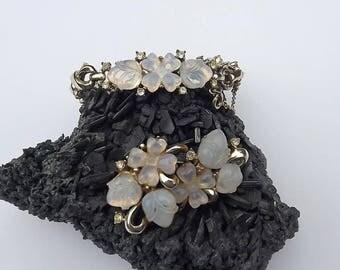CORO Fruit Salad Bracelet Earring's Set Opal Moonstone Glass