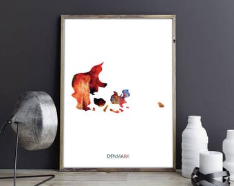 Denmark Art Denmark Wall Art Denmark Wall Decor Denmark Photo Denmark Print Denmark Poster Denmark Map Country Map Watercolor Map