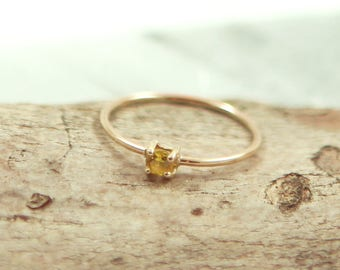 Dainty Yellow Stone Ring with 14kt Gold Band