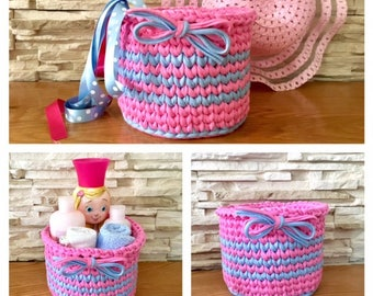 Pink and Blue Storage Basket Crochet