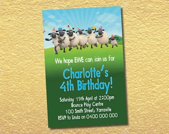 Personalised Shaun The Sheep Birthday Invitations Party Invites