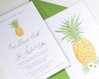Pineapple Wedding Invitation Suite | Tropical Wedding Invitation Set |  Destination Wedding Invitation | Style #LGW2174