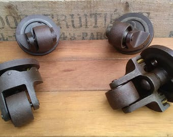 Antique Industrial Iron Casters.
