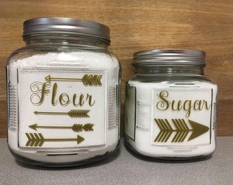 Glass Flour and Sugar Canisters