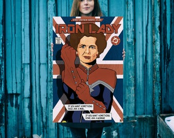 Margaret Thatcher Giclee Print – Pop Art; Modern Contemporary; Decorative Poster; Illustrated by Mike Freedom