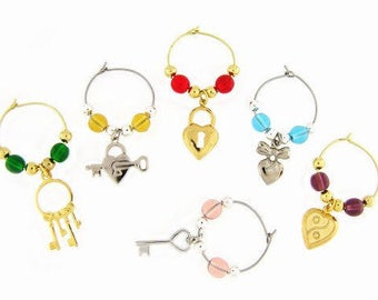 Hearts Drink Charms, Wine Glass Charms
