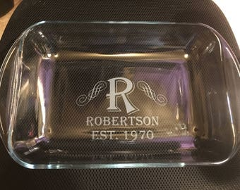 Family Name with Established Year Etched Glass Baking Dish