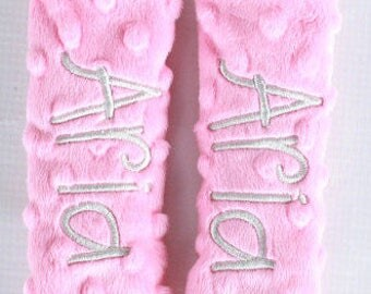 Personalized Baby Car Seat Straps-Bubblegum Pink Minky- Choose Your Colors
